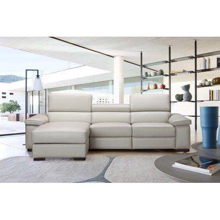 J Fabia Modern Premium Light Grey Italian Leather Sectional Sofa Left Hand Leathersectionalsofas Sectional Sofa Reclining Sectional Sectional Sofa Couch