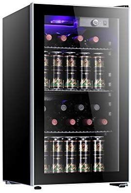 Antarctic Star 26 Bottle Wine Cooler Cabinet Beverage Refrigerator Small Red White Wine Cellar Adjust Temperature Beer Counter Top B Beverage Refrigerator Small Refrigerator Refrigerator