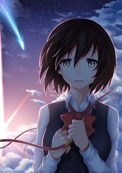 HD wallpaper: anime, anime girls, Miyamizu Mitsuha, crying, sky, clouds, short hair