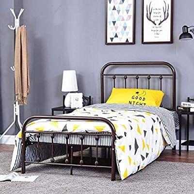 Amazon Com Homerecommend Dark Bronze Metal Bed Frame Platform