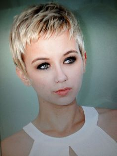 Cute, short Pixie cut. Daily maintenance is a breeze. Regular cuts are essential though to keep it looking great.