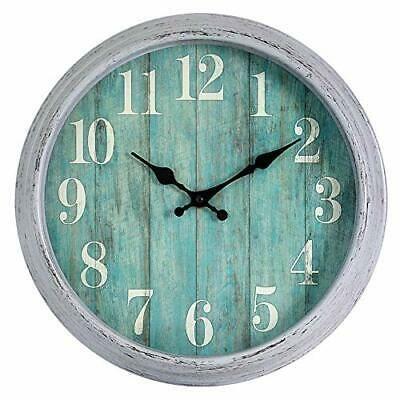 Teal Wall Clock 12 Inch Retro Vintage Silent Wall Clocks Battery