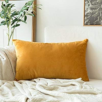 Amazon Com Miulee Velvet Soft Soild Decorative Square Throw Pillow Covers Cushion Case For Sofa Bedroo Bedroom Sofa Yellow Throw Pillows Elegant Throw Pillows