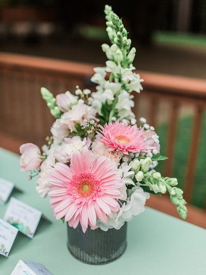 Gerber Daisy And Snapdragon Flower Arrangement In A Rustic Zinc Container From Seasonal Celebr Daisy Flower Arrangements Snapdragon Flowers Flower Arrangements