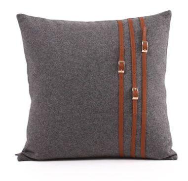 Geschenk Kissenbezug Wolle Leder Gurtelschnalle Streifen Patchwork