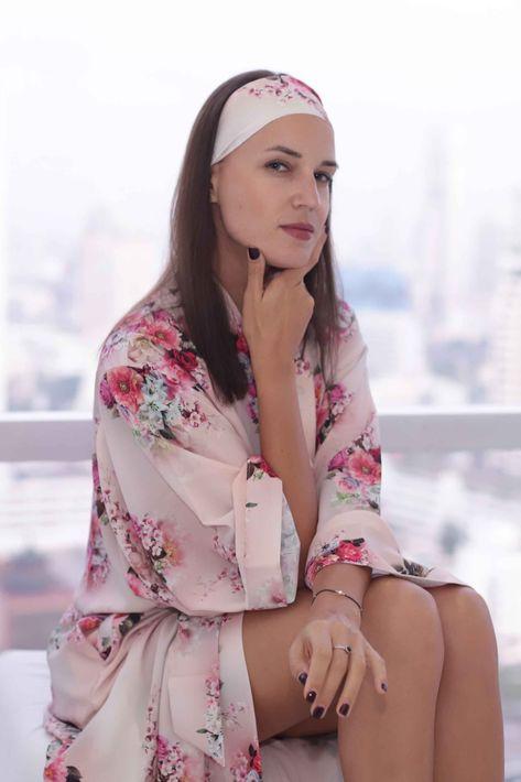 Sik Kimono  Robe Long Flower Pink - Universal Size