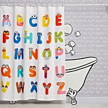 Sesame Street Abc Shower Curtain Kid Bathroom Decor Kids Bathroom Crate And Barrel