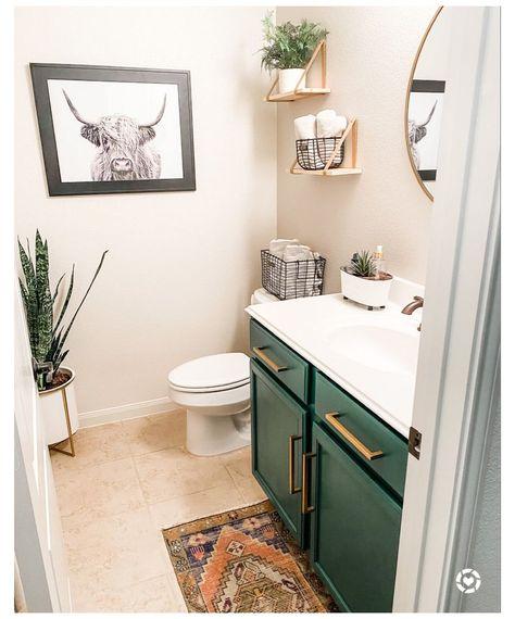 Bathroom Renos, Small Bathroom, Green Bathrooms, Modern Boho Bathroom, Cozy Bathroom, Washroom, Bathroom Inspiration, Bathroom Inspo, Bathroom Ideas