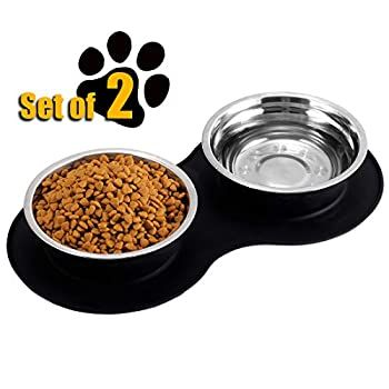 Myavenue Stainless Steel Dog Bowl Set For Medium Dog No Mess