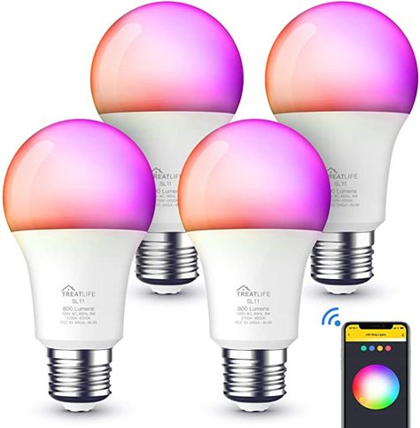 Smart Light Bulbs Work with Alexa, Google Home, A19 E26 Smart Bulb WiFi LED Light Bulbs Dimmable RGB Color Changing Light Bulb Music Sync, 60W Equivalent 800Lumen, Smart Lights No Hub Required, 4Pack