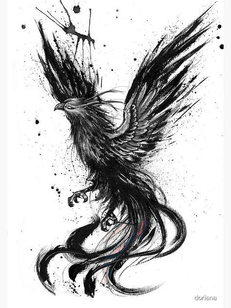 Phoenix ink drawing by Doriana Popa Phoenix ink drawing by . - Phoenix ink drawing by Doriana Popa Phoenix ink drawing by Doriana Popa - Tattoo Design Drawings, Tattoo Sketches, Art Sketches, Ink Drawings, Drawing Tattoos, Fantasy Drawings, Phoenix Bird Tattoos, Phoenix Tattoo Design, Phoenix Design