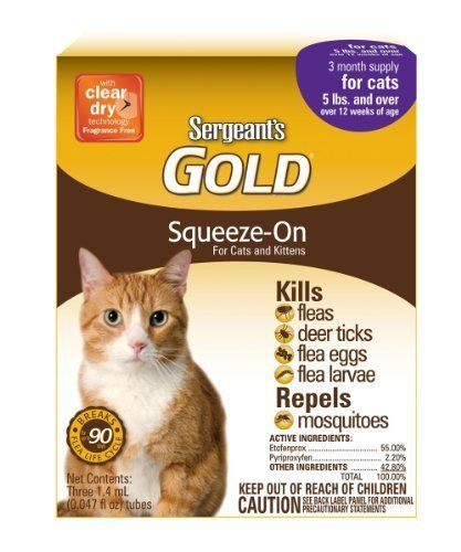 Sergeant S Gold Flea And Tick Squeeze On Cat Over 5 Pound By Sergeant S Be Sure To Check Out This Awesome Product This Is An Flea And Tick Cat Fleas Fleas