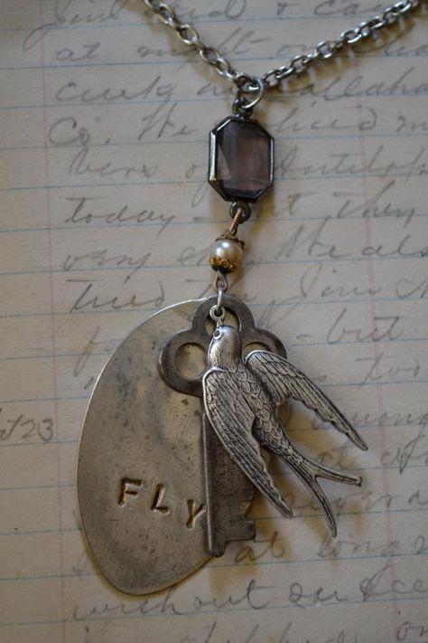 FLY... spoon, bird & key charm necklace