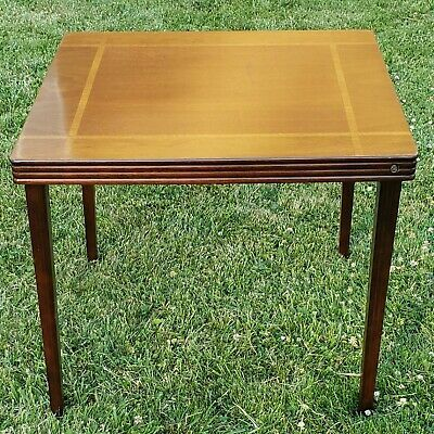 Antique Vintage Wooden Folding Card Table Inlaid Wood Table Castlewood In 2020 Wood Table Antique Work Table Wood