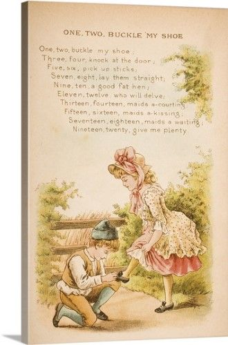 Constance Haslewood Premium Thick Wrap Canvas Wall Art Print Entitled One Two Buckle My Shoe From Old Old Nursery Rhymes Nursery Rhymes Poems Nursery Rhymes