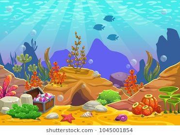 Cartoon Underwater Background Ocean Bottom Nature Vector Illustration Underwater Background Vector Illustration Illustration