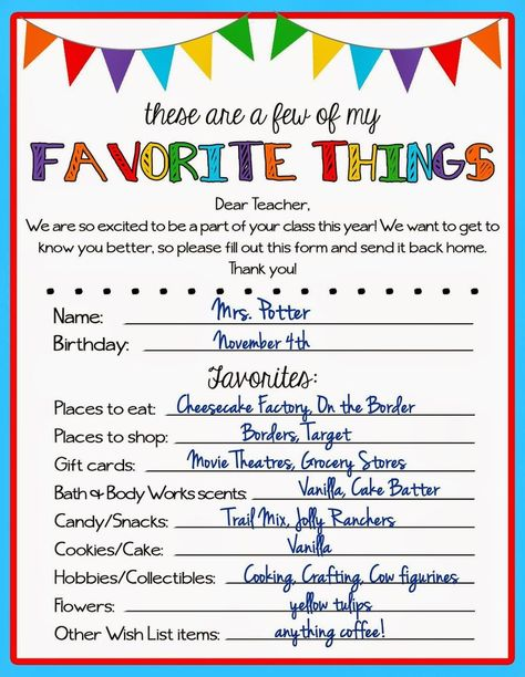 Teacher Favorite Things Questionnaire | Kicking Ass & Crafting:                                                                                                                                                                                 More