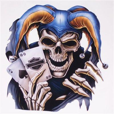 Style BIKER HARLEY Sticker JESTER HEAD Made in USA
