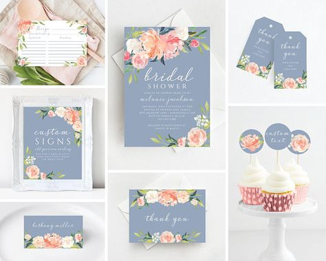 Bridal Shower Invitation Template Bundle with Dusty Blue and Floral Design