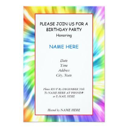 Tie Dye Birthday Party Invitation Card Zazzle Com