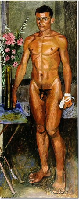 Naked young with oleander and bandage on hand (1940) by Yannis Tsarouchis