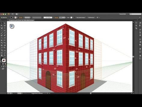 Illustrator Tutorial For Beginners 2 Point Perspective How To Use Perspective Grid Tool Part 1 Perspective Illustrator Illustrator Tutorials 3d Drawings