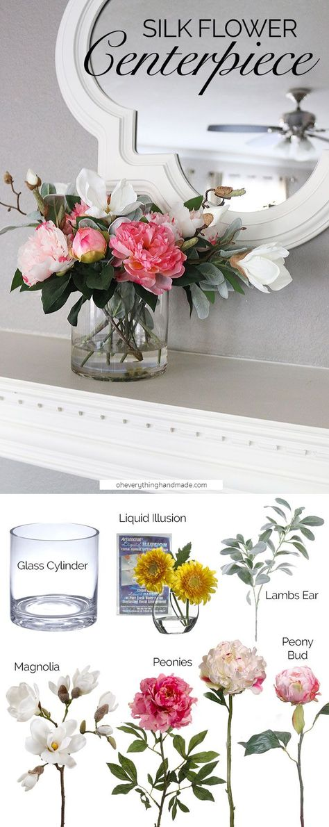 Diy Centerpieces With Faux Flowers Flower Arrangements Diy Flower Arrangements Table Flower Arrangements