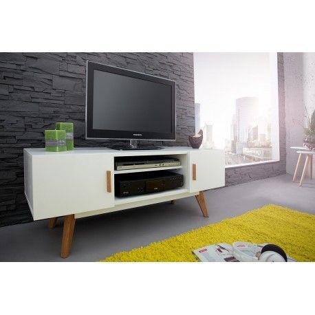 Livraison rapide - Magnifique meuble TV blanc fait en MDF laqué, se