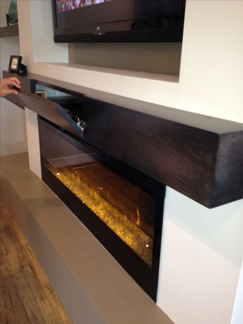 Great extra storage for components in a box style mantle...lit make the full front panel open. Piano hinge
