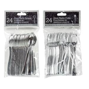 Silver Plastic Mini Cutlery 24 Ct Packs With Images Serving Utensils Plastic Serving Trays White Plastic Plates