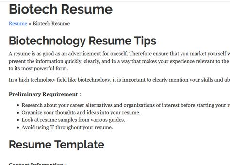 Good tips and 2 great links to sample resumes toward the bottom - biotech resume sample
