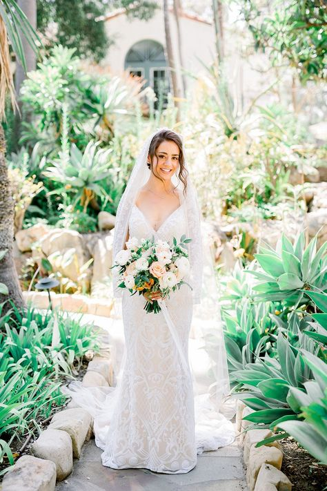 This gorgeous rosey wedding at Belmond El Encanto in Santa Barbara was beautifully designed by Velvet  Blooms with floral bouquets of pink, white, blush and rose. From tablescapes to wedding flowers on archways and in bridal bouquets, this color scheme was perfect. Velvet Blooms | Wedding