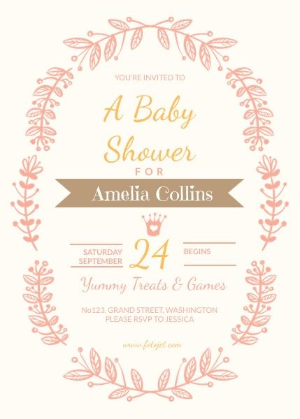 Baby Shower Invitation For Girls Template Fotojet Reshma
