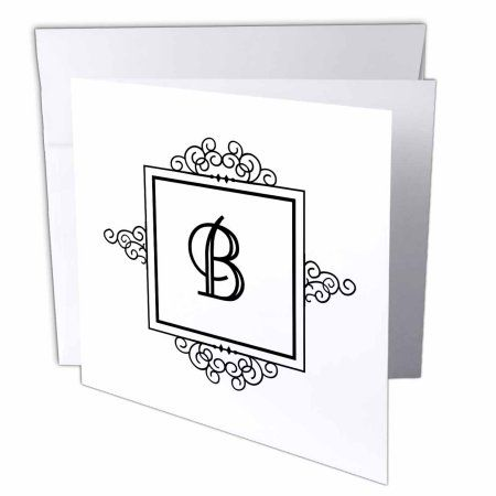 Drose Initial Letter B Personal Monogrammed Fancy Black And White