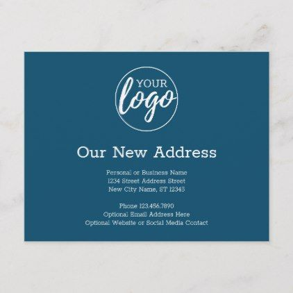 New Address Change With Business Logo Navy Announcement Postcard Zazzle Com Business Logo Change Of Address Cards Change Of Address