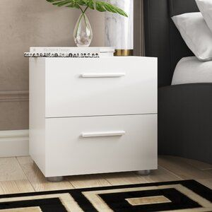 Cormier Corner Makeup Vanity With Mirror 2 Drawer Nightstand Drawer Nightstand Drawers