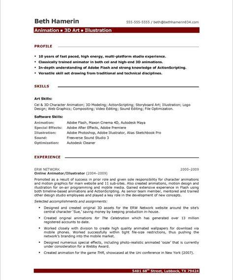 robbywhiteanimator wp-content uploads 2012 02 New-Final - 2d animator sample resume