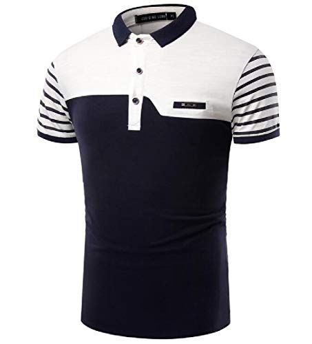 Fubotevic Mens Short Sleeve Business Contrast Color Summer Cotton Polo Shirts