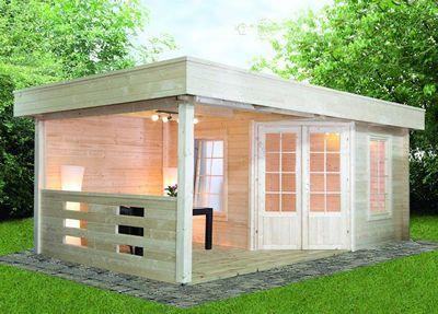 Gartenhaus Flachdach «280x280cm Mit Terrassenanbau» Fünf Eck Holz Haus |  Gartenhaus | Pinterest | Flachdach, Gartenhäuser Und Holz