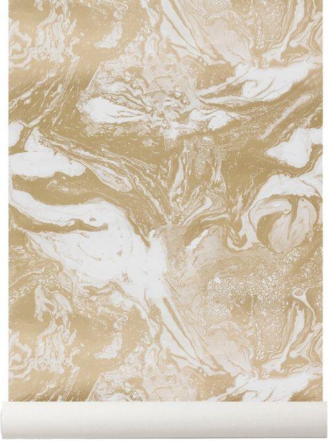 Papier Peint Avec Imprimes Marbres Dores Ferm Living En 2020 Papier Peint Design De Surface Fond D Ecran Scandinave