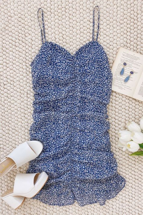 Step into the dress for RSVPs! Lulus Walk the Walk Blue Floral Print Ruched Bodycon Mini Dress will land you on the best dressed list. Guests will swoon over the on trend ruffles and ruching. #lovelulus