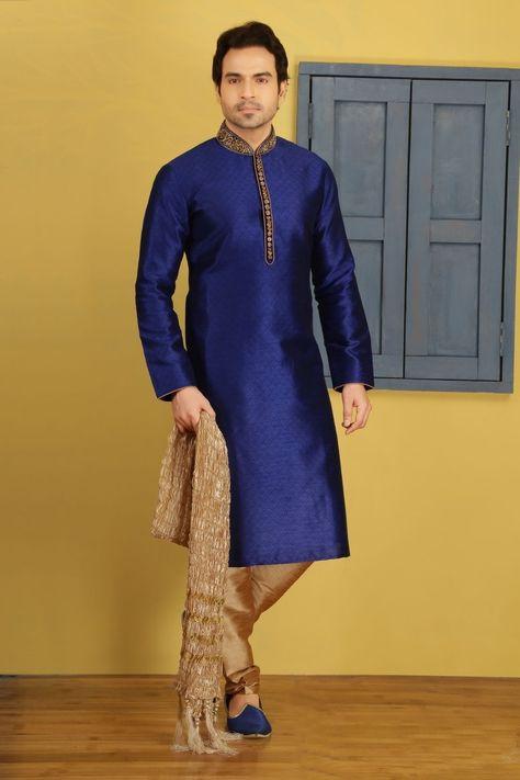 Blue Art Silk Kurta Pajama Sku:518029 | Traditional indian