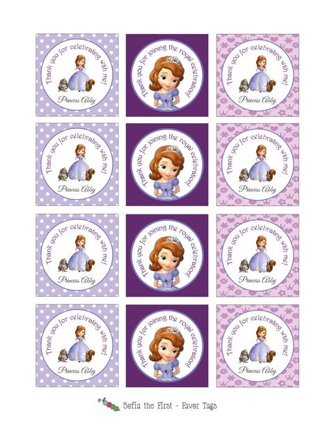 Printable SOFIA THE FIRST Stickers or Gift Tags