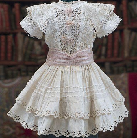 Antique Original French Muslin Dress & Slip for Jumeau Bru Steiner doll…