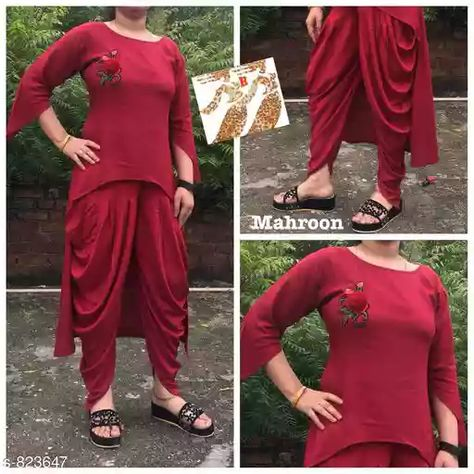 Alluring Rayon Kurta Set Fabric: Kurti - Rayon, Tulip Pant - Rayon Sleeves: Kurti - 3/4 Sleeves Are Included Size: Kurti - Bust - XL - 42 in, 2XL - 44 in , Tulip Pant  - Waist  - XL - 32 in, 2XL- 34 in Length: Kurti - Front - Up To 24 in, Back - Up To 40 in,               Tulip Pant -  Up To 50 in Description: It Has 1 Piece Of Kurti & 1 Piece Of Tulip Pant   Work / Pattern: Kurti - Embroidery, Bottom - Solid