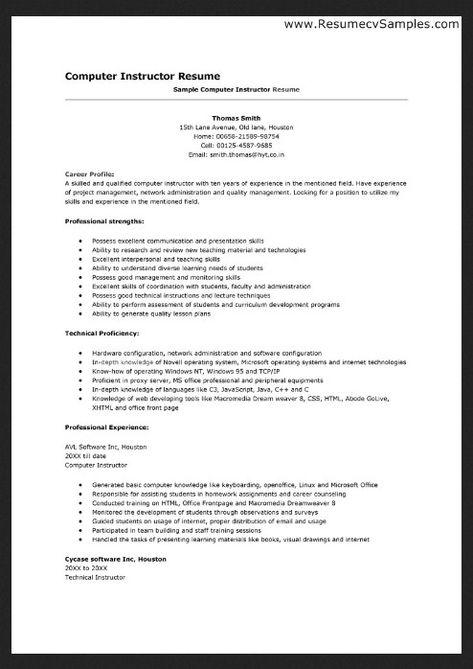 10 Example Resume For Computer Skills Job Resume Examples Job Resume Samples Job Application Sample