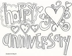 Romantic Happy Anniversary Coloring Pages To Gift