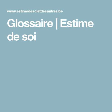 Glossaire | Estime de soi