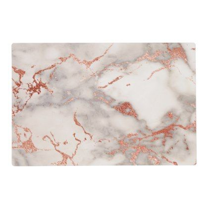 faux rose gold and white marble placemat - kitchen gifts diy ideas decor special unique individual customized