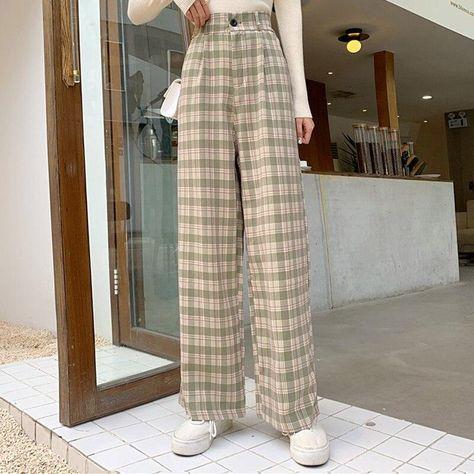 Plaid Pants Women Wide Leg Loose 4XL Plus Size Slacks Trousers Checkered High Elastic Waist All-match Girl 2021 Spring Casual - 01 zipper green / XL